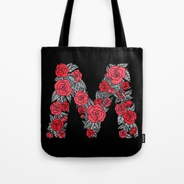 Floral Type - Letter M - Black and Blush Tote Bag