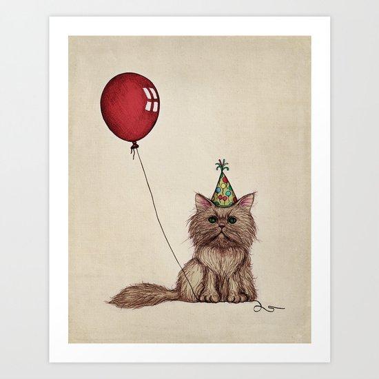 Balloon Love: Kitty Celebration Art Print