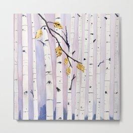 Birch Trees Watercolor Metal Print