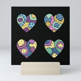 patchwork hearts Mini Art Print