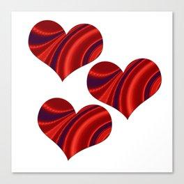 Fractal Heart Trio Canvas Print