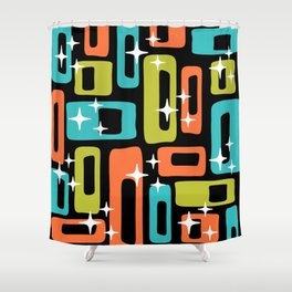 Retro Mid Century Modern Abstract Pattern 222 Orange Chartreuse Turquoise Shower Curtain