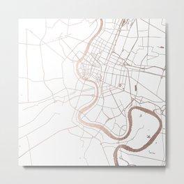 Bangkok Thailand Minimal Street Map - Rose Gold Pink and White Metal Print