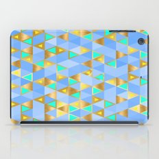 Contemporary Faux Gold and Blue Triangles Pattern iPad Case