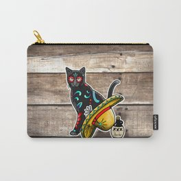 Gato en un Sombrero - Day of the Dead Sugar Skull Cat - Dia de los Muertos Kitty Carry-All Pouch