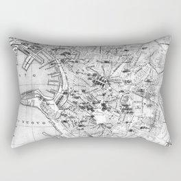 Vintage Map of Genoa Italy (1906) BW Rectangular Pillow