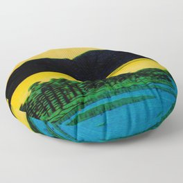 Sunset Contemplative Landscape Floor Pillow