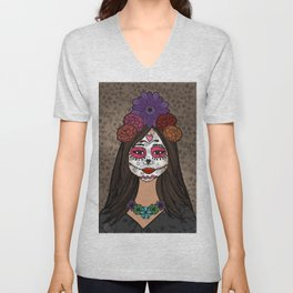 Gabriela on the Day of the Dead Unisex V-Neck
