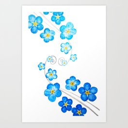 blue forget me not watercolor 2017 Art Print