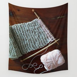 knitting, knitting photos, oatmeal color, peach, natural color, scarf, cotton Wall Tapestry