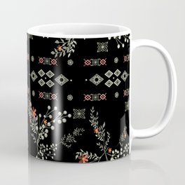 Seamless abstract floral pattern on black background Coffee Mug