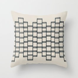 Stacks of Rectangles, Charcoal Gray on Cream Throw Pillow