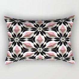Pastel Pink White Black 3D Stars Floral Pattern Rectangular Pillow