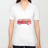 vw V-neck T-shirts featuring VW Van  by Stacia Elizabeth