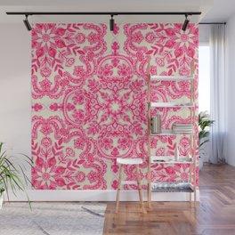 Hot Pink & Soft Cream Folk Art Pattern Wall Mural