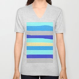 Ocean Blue Painter's Stripes Unisex V-Neck