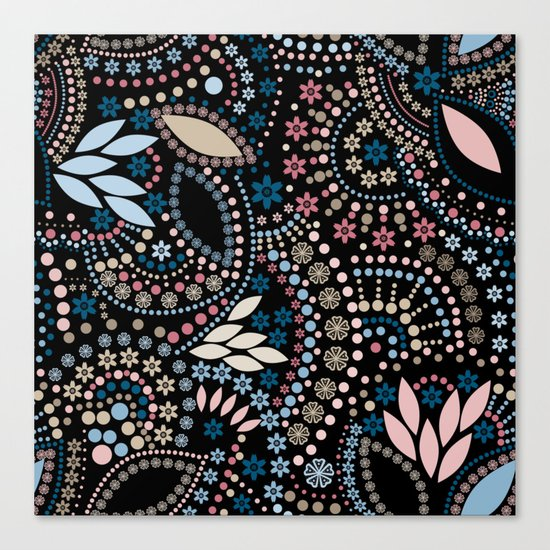 Abstract pattern with beads on black Canvas Print