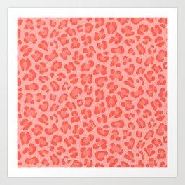 Leopard - Living Coral Art Print
