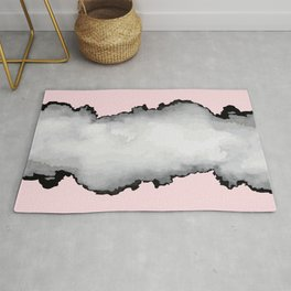 Blush Pink Gray and Black Graphic Cloud Effect Rug