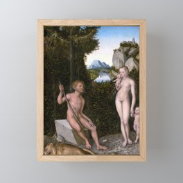 Lucas Cranach the Elder A Faun and His Family with a Slain Lion Framed Mini Art Print