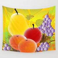 fruit Wall Tapestries featuring Fruit by Ramon J Butler-Martinez