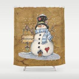 Folk Art Snowman Christmas Shower Curtain