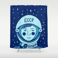 valentina Shower Curtains featuring Valentina Tereshkova by Emma Falconer