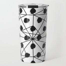 Geometrical black white watercolor polka dots Travel Mug