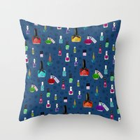 nail polish Throw Pillows featuring Fancy Nail Polish by Elisandra Sevenstar