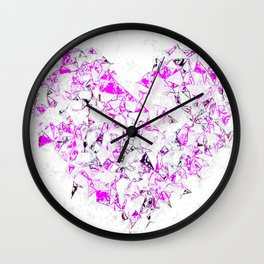 pink heart shape abstract with white abstract background Wall Clock