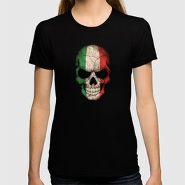 Dark Skull with Flag of Italy T-shirt
