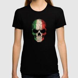 Dark Skull with Flag of Italy T-shirt
