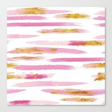 Chic Pink and Gold Watercolor Brush Strokes Canvas Print