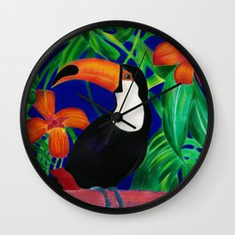 Toucan in colourful forest Wall Clock