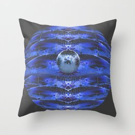 Disco Bee Hive Silver and Blue and Black Throw Pillow