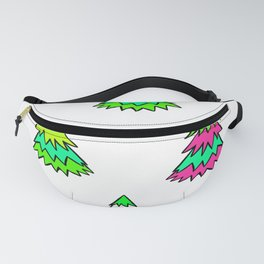 Pink Green White Christmas Trees Fanny Pack