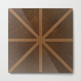 Digitial Faux Brown Distressed Leather and Union Jack Cross Design Metal Print