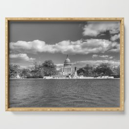 Washington DC Capitol Building Black and White Photography Serving Tray