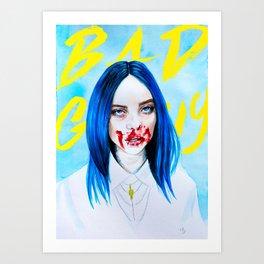 Billie Eilish Bad Guy blue music portrait fan art typography Art Print