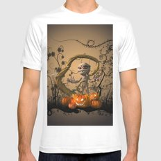 Funny mummy with pumpkins White MEDIUM Mens Fitted Tee