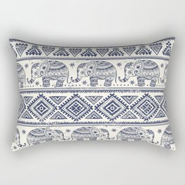 Vintage ethnic aztec with lovely elephants hand drawn illustration pattern Rectangular Pillow