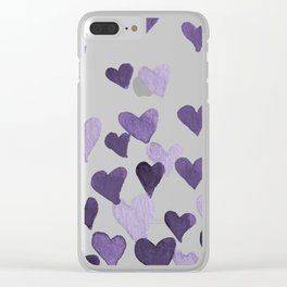 Valentine's Day Watercolor Hearts - ultraviolet Clear iPhone Case