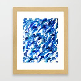 Turbulent Waves Original Abstract Oil Painting on Canvas, Blue, Silver 8x10in Framed Art Print