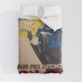 Vintage 1933 Monaco Grand Prix Car Advertisement Poster by Geo Ham Comforters