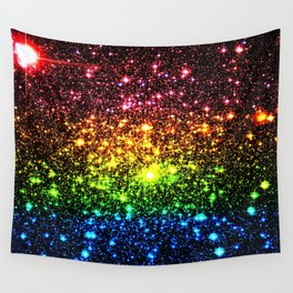 Rainbow Sparkle Galaxy Stars Wall Tapestry