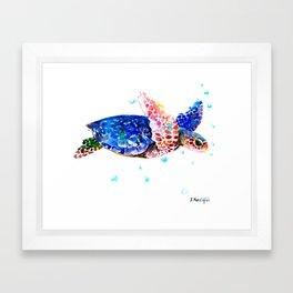 Sea Turtle, blue rainbow Framed Art Print