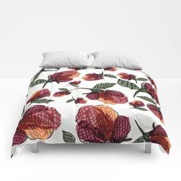 Prairie Rose Flower in Red and Orange Comforters