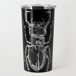 Lucanus cervus on dark Travel Mug