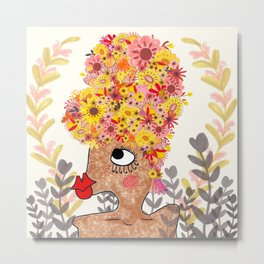 Flowers in Her Hair Metal Print