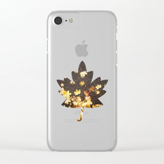 Gold yellow maple leaves autumn asphalt road Clear iPhone Case